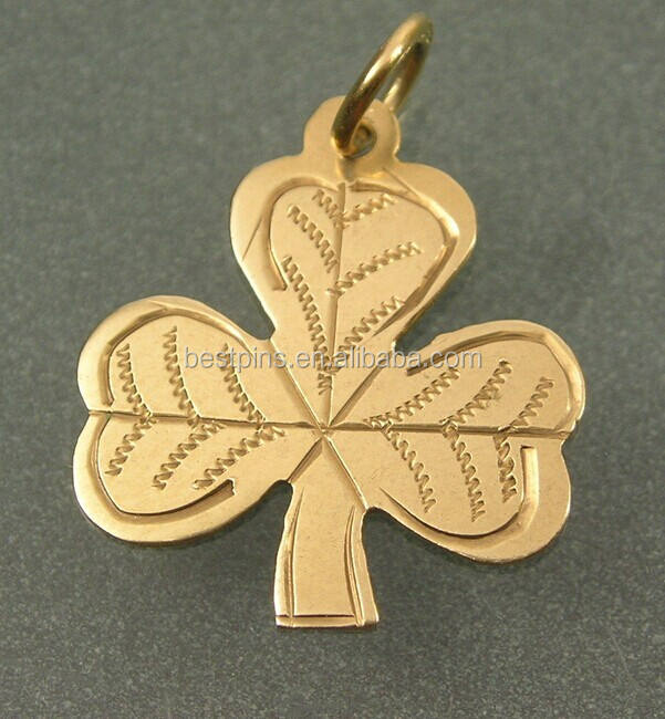 Three Leaf Clover Charm, Irish Lucky Charms Gold Shamrock