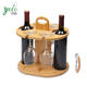 Counter top Tabletop Display, bamboo Wine Bottle Holder Glass Cup Rack with Handle Free Wood Handle Corkscrew
