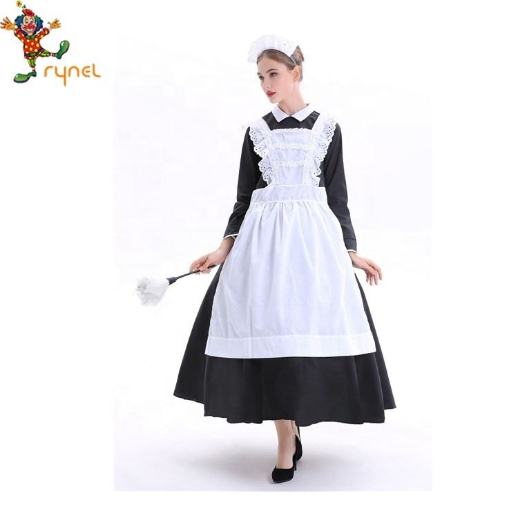 UK Size Party Dress Waitress Outfit 8-10 Green France Maid Uniform Costume