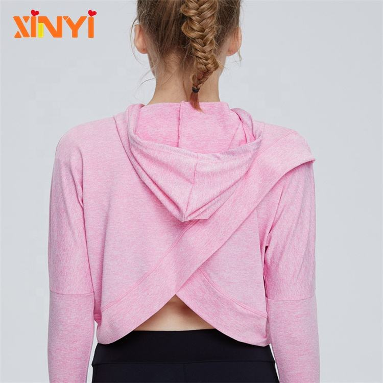 Perfect Fit Nylon Performance Fabric Breathable Four Way Stretch Womens Crop top Compression Hoodies