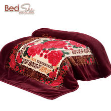 100% polyester Arabic style thick warm double ply embossed korean blankets wholesale