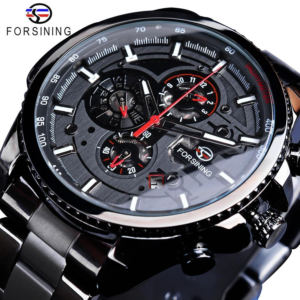 Top Brand Luxury Forsining Watch Three Dial Calendar Display Black Stainless Steel Men Automatic Wrist Watch Military Sport