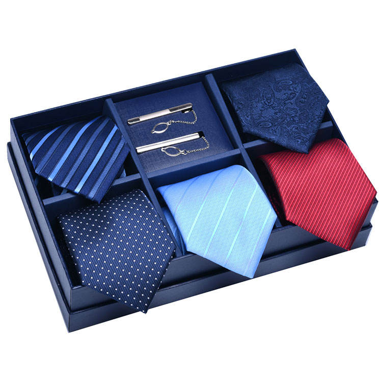 Wholesale Custom Design Logo Ties And Tie Clip Set Men 100% Silk Tie Set