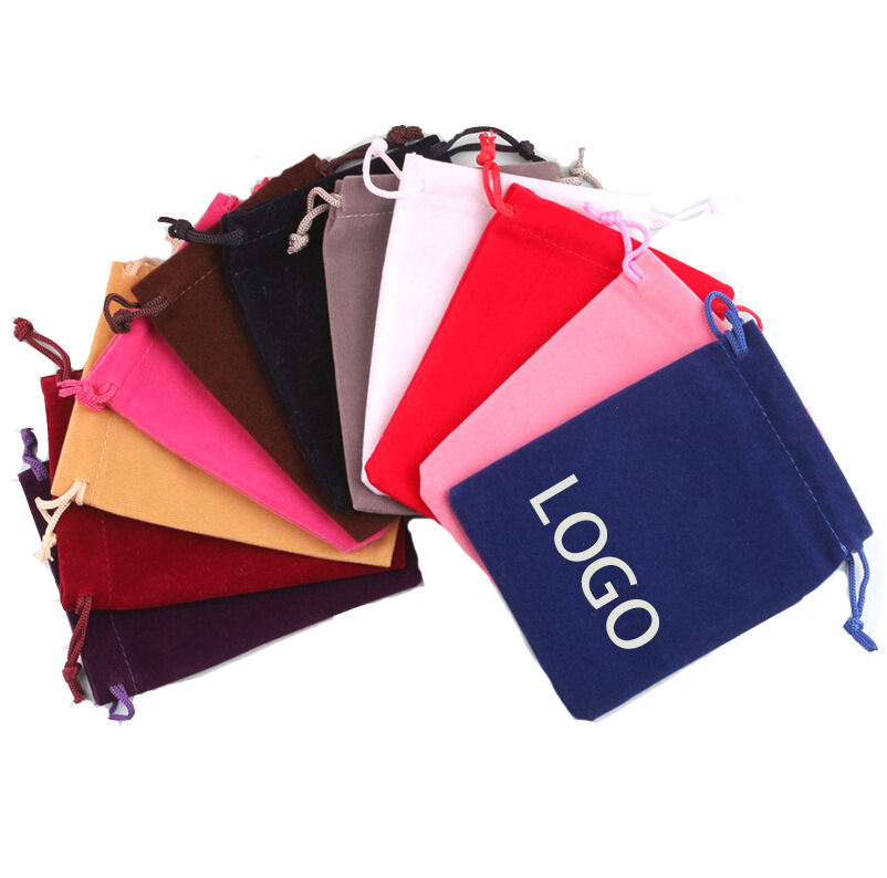Small Quantity Custom Printed suede drawstring velvet pouches for jewelry