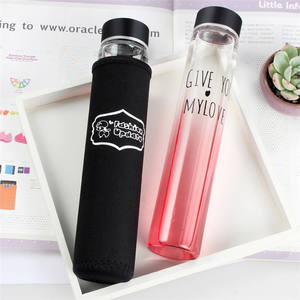 Wholesale 280ml Skinny Frosted Glass Borosilicate Water Bottle With Silicone Sleeve