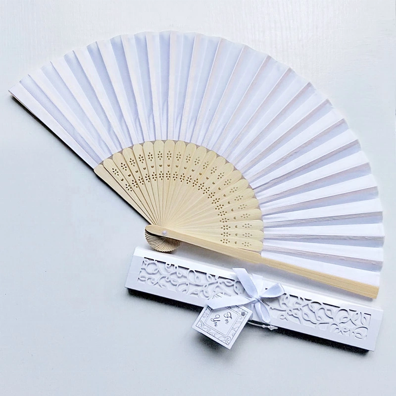 [I AM YOUR FANS] Sufficient stock!Rose Hot Selling Wedding Gifts bamboo hand fan wedding gifts favor 14colors Orange silk gift