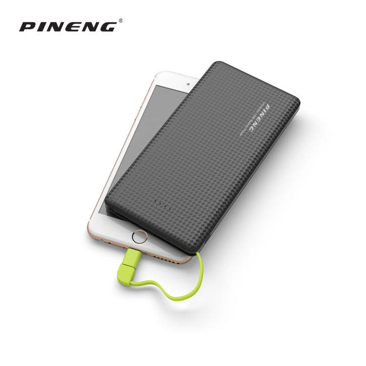 Pineng Atacado Fácil de Transportar Ultra Slim Banco do Poder 10000mah Móvel