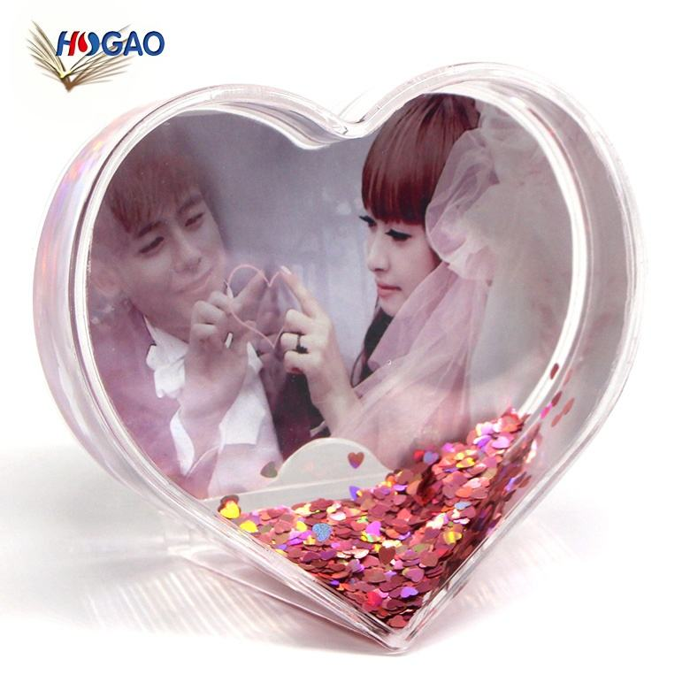 China wholesale acrylic OEM custom novelty gifts picture insert photo frame funny acrylic heart shape snow water globe