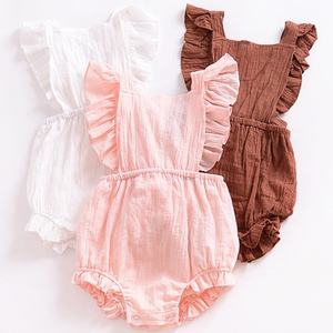Boutique New born Baby Girls Flutter Ruffle Romper Blank Onesie Baby Clothes Cute Plain Baby Linen Bubble Rompers
