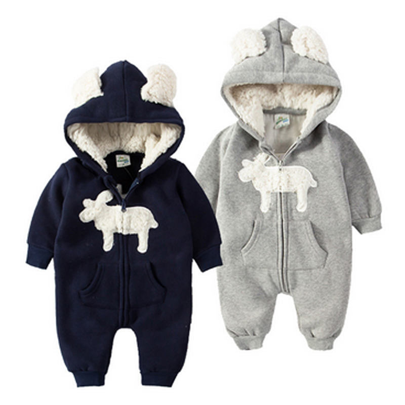 Cute Elk Winter Thickening Climbing Clothes Bodysuits Lovely Baby Wear