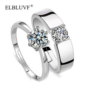 ELBLUVF Simple Copper Alloy Jewelry Cubic Zircon Lovers Diamond Engagement 925 Silver Plated Wedding Couple Ring