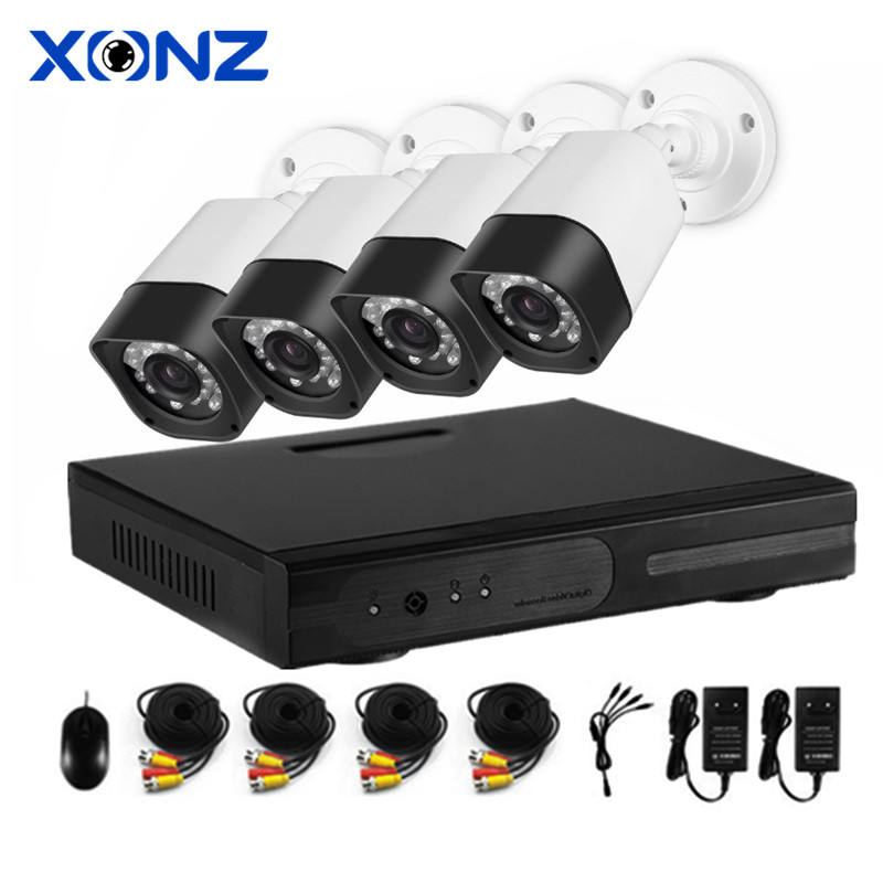 1080p 4CH Channel AHD Analog CCTV 3.6mm Lens 24IR Bullet Camera DVR Plus Kits
