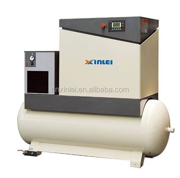 7.5kw ac power screw compressor with air dryer XLAMTD10A-A9 three phase 8bar 350L tank