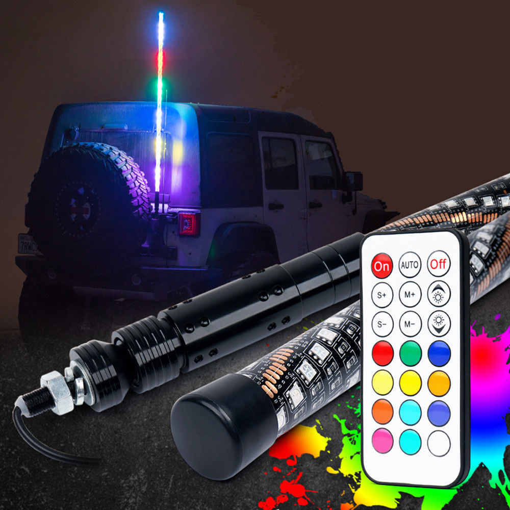 TheOne Frosted 20 Color RGB LED Lighted Whip like Optic Whip with Remote Control 6FT//1.8M
