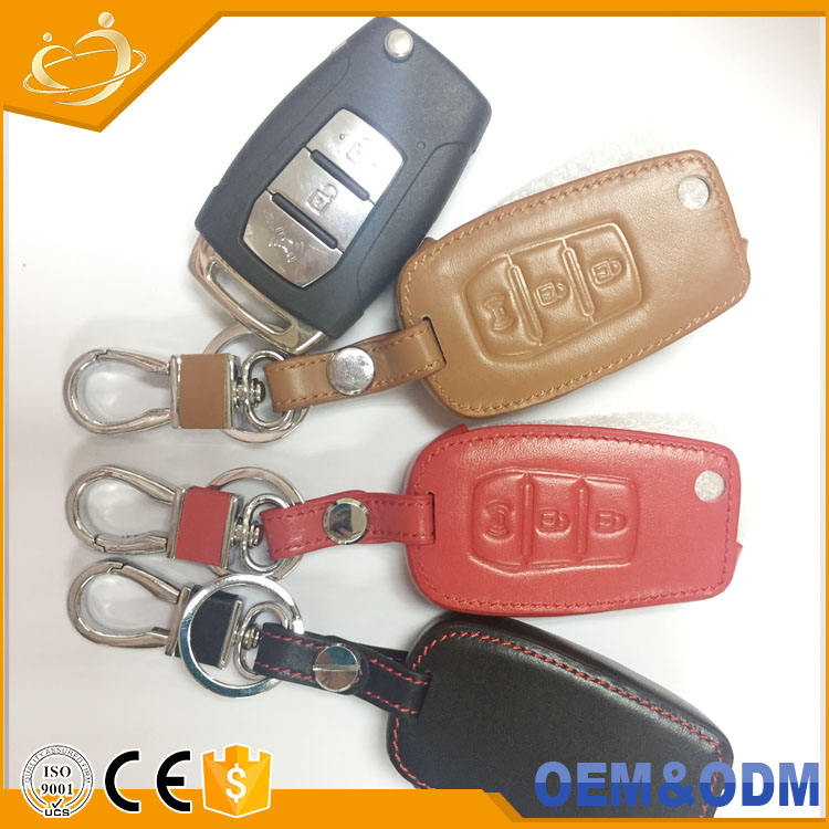 Folding Key Genuine Leather Case Cover for SSANGYONG 15-16 Tivoli 3Button