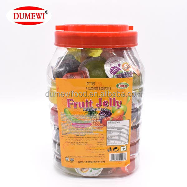 1500G HALAL Freeze Edible Mini Assorted Jelly Cup Candied Fruit Jelly