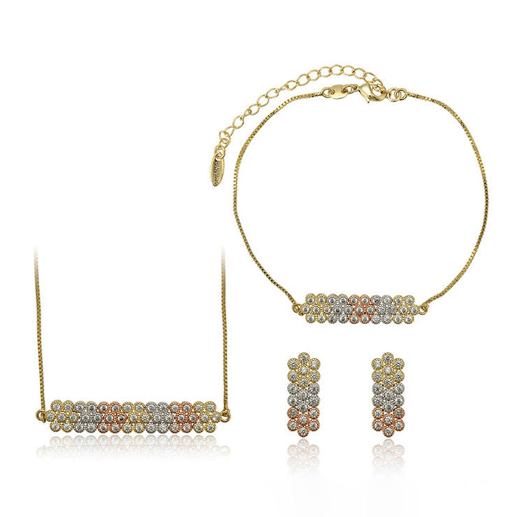 65307 xuping new fashion 3 piece copper alloy zirconia jewellery set women latest fashion jewellery