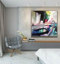 100x100cm 100% Handmade Abstract Colorful Wall Art Painting