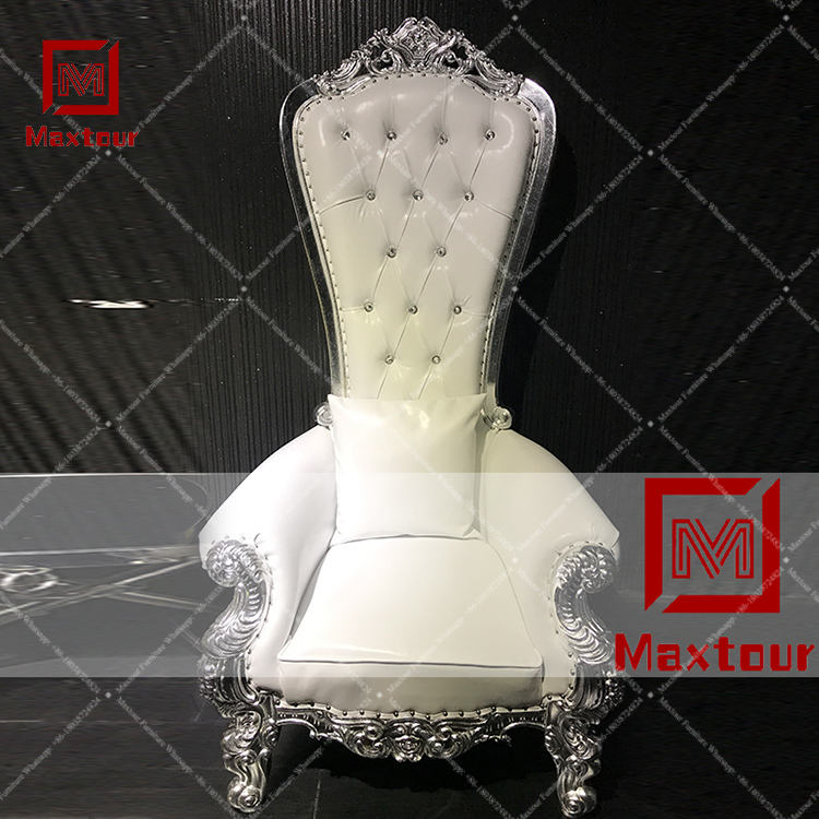 Luxury royal wooden king throne high sofa chairs for bride and groom sofa chair
