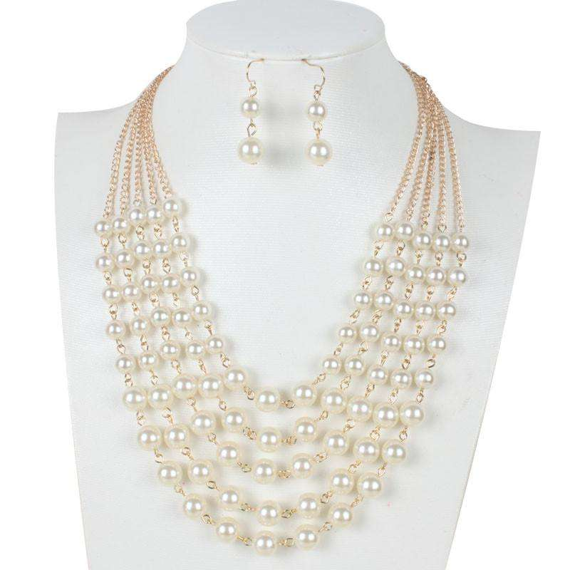 Fashion Simple Women Necklace Earrings Pearl Jewelry Set