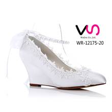 little wedge with lace comfortable bridal shoes women dress shoes dyeable shoes for wedding cheap made in china