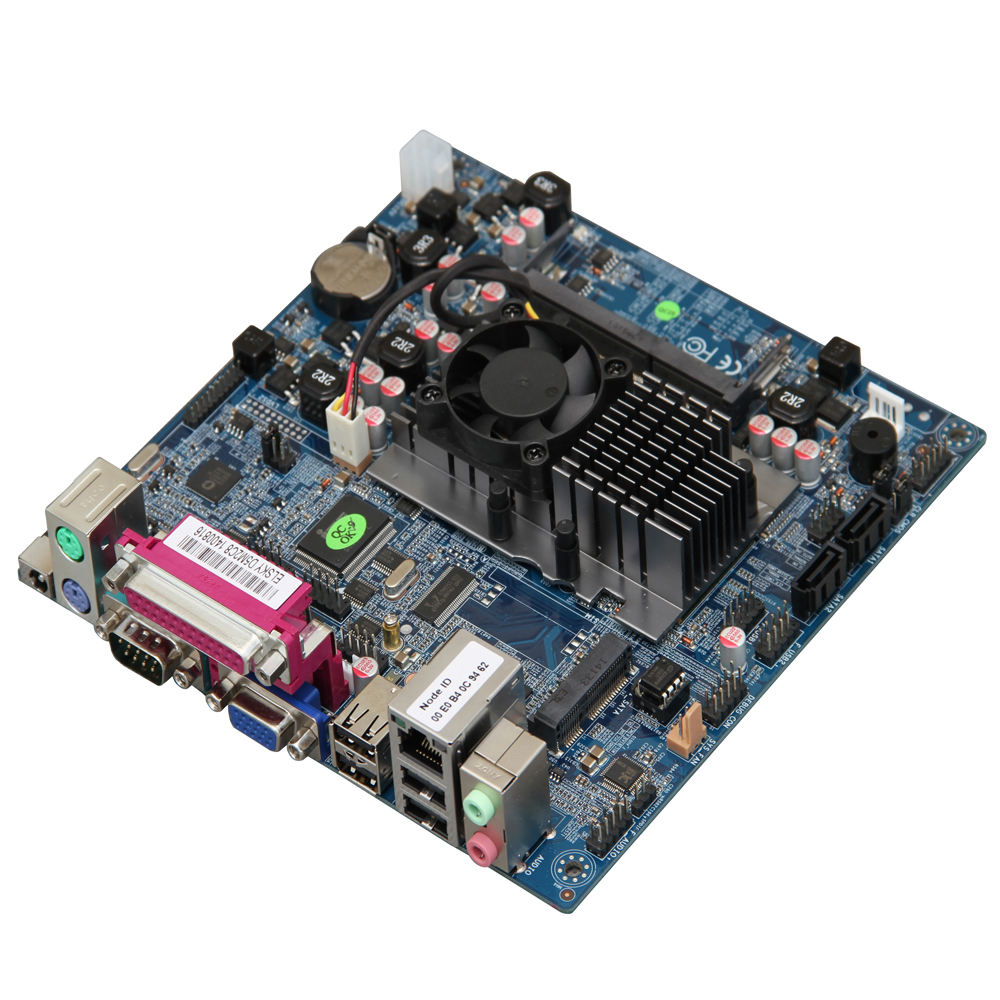 Thin Cool Fan ATOM D525 Processor Mini-ITX MotherboardとSupporting 2COMと8 USB (6COM Option)