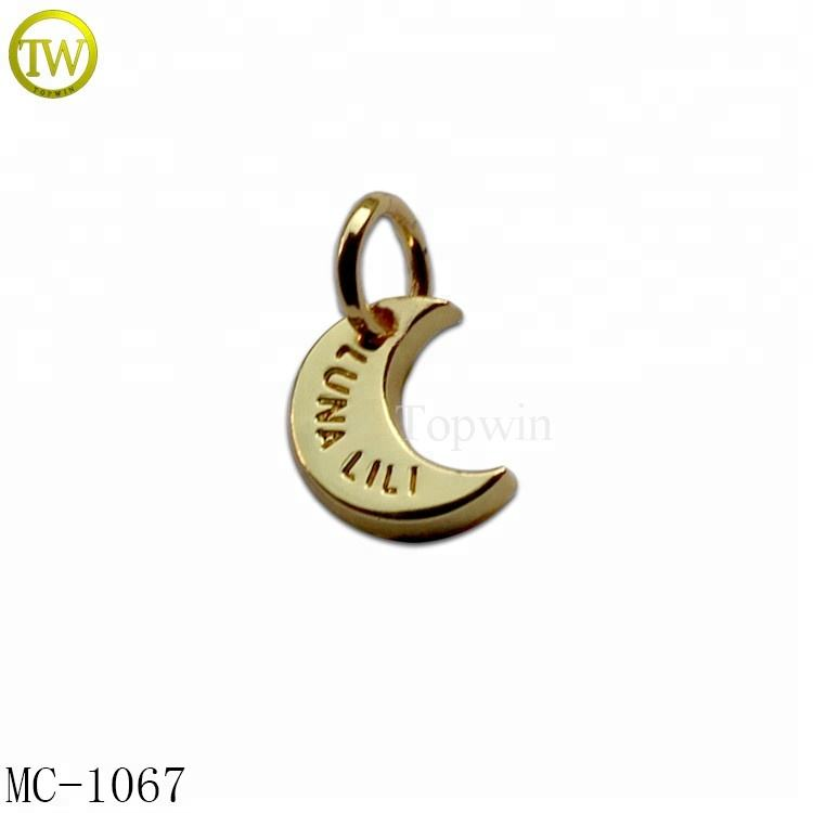 Custom metal jewelry tags personalized letter word phrase tags, company brand logo charm jewelry