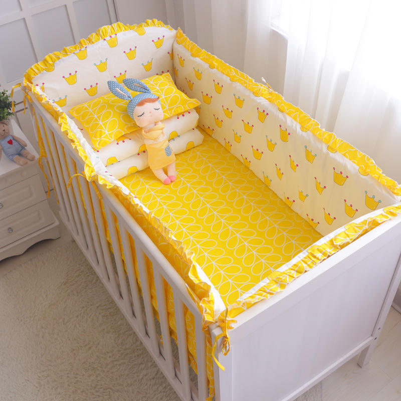 Printed Colorful Crib Baby Bedding Set Woven Bumper