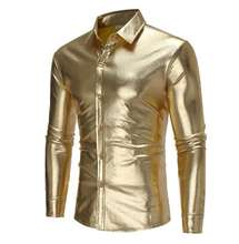 Men 's Slim Fit Shirts  - Slim  Fit Fashion Metallic Shiny - Long Sleeve Elastic Chemise Homme Clothing for Night Club