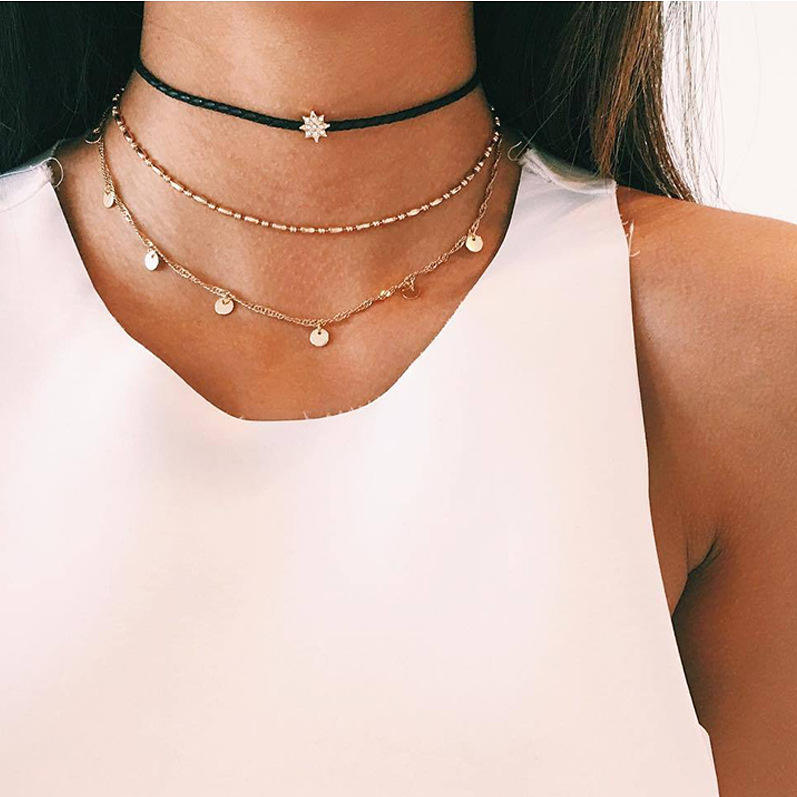 2019 new necklace stylish three-layer jewelry Choker simple star pendant necklace with good quality for women chunky necklace