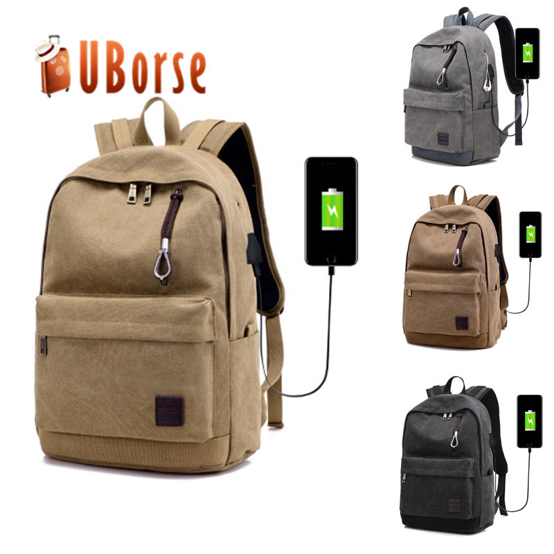 2018 canvas bag laptop bag back pack custom smart backpack with usb charger