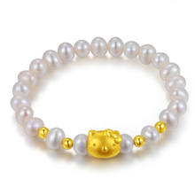 Bead Bracelet With 18k Gold Cat Charms Cute Jewelry For Wholesale Silver Gold Bracelet