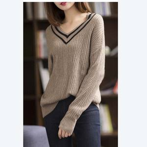 2019 Hot sale Korean Cute Ladies cashmere sweater Autumn Winter Knitted Women V-neck Sweater