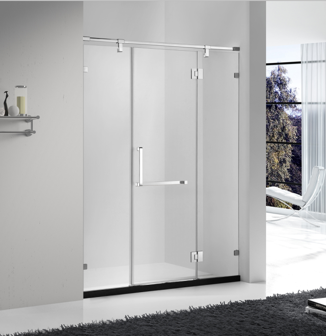 frameless design stainless steel glass hinge two fixed one open door straight shape shower enclosure