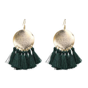 Wholesale Top design Customised Women Fashion Earrings Jewelry Charm Bohemian Colorful Big Hoop Pendant Thread Tassel Earring