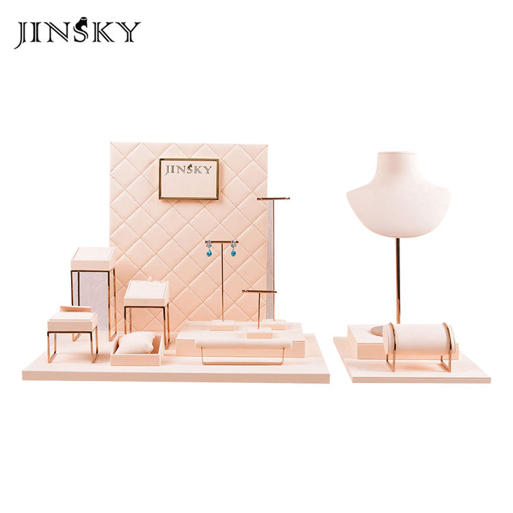 JINSKY beige color microfiber jewellery earring bracelet display stand gold metal display customize jewelry stand