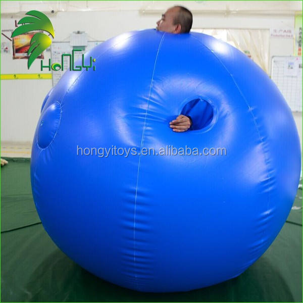 Durable PVC Balloon Costume , Hongyi Inflatable Blueberry Ball Suit For Sale