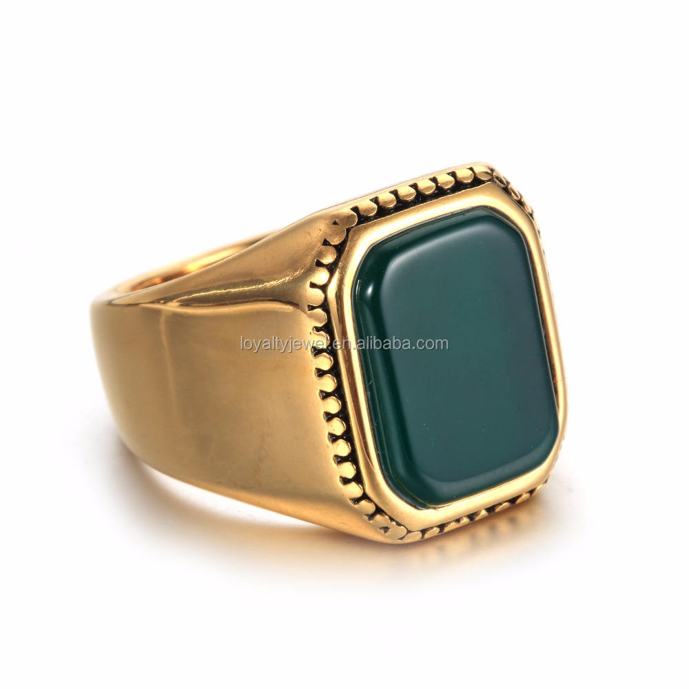 NEW Retro Men gold plated square green and red stone ring