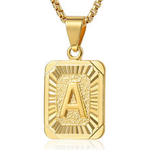 18k Gold Plated Personalised Rectangle Necklace Jewelry, Trendy Initial Medallion Letter Pendant Necklace