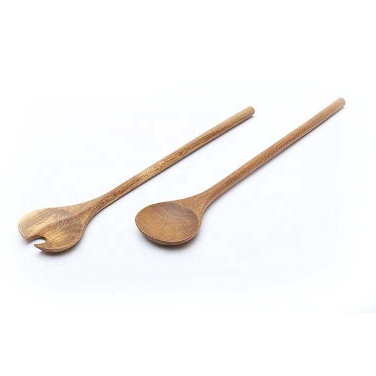American popular style long handle acacia wood serving utensil set for kitchen with custom design