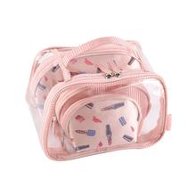 Gifts travel toiletry bags lady pvc travel tote bag cosmetic makeup bag set