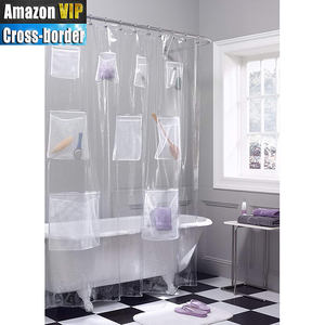 PEVA semi-transparent pocket storage waterproof and mould proof thickened pocket shower curtain