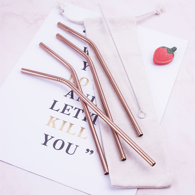 Top Sales Luxury PVD Rose Gold Color 4pcs Bent Straw with brush Set