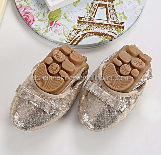wholesale shining gold ladies fold up ballerina shoes