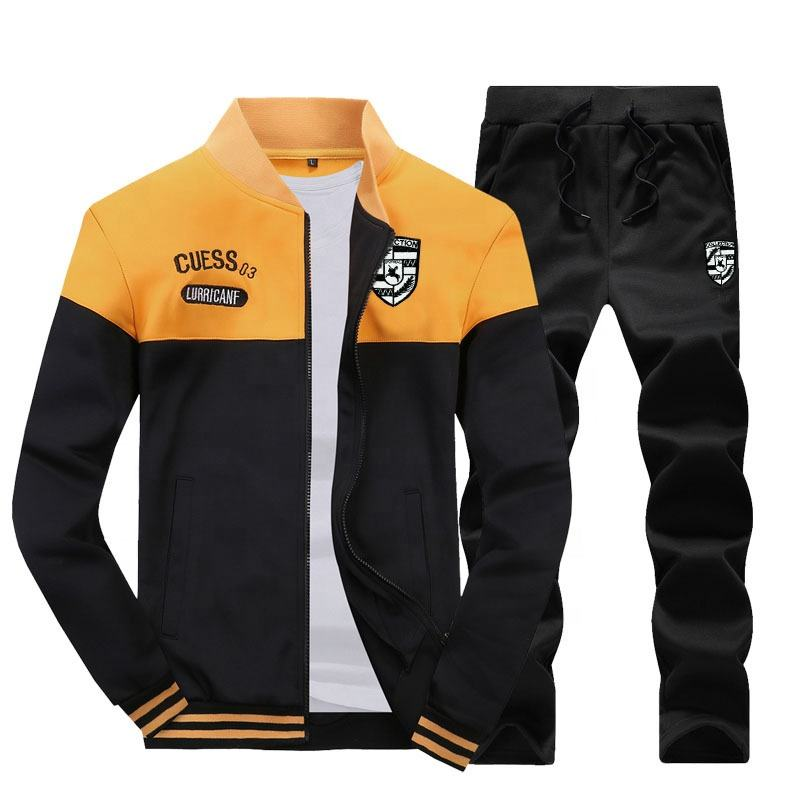 Fashion design autumn men's 2 pcs tracksuits long sleeve sports casual suits stylish customized running men track suits
