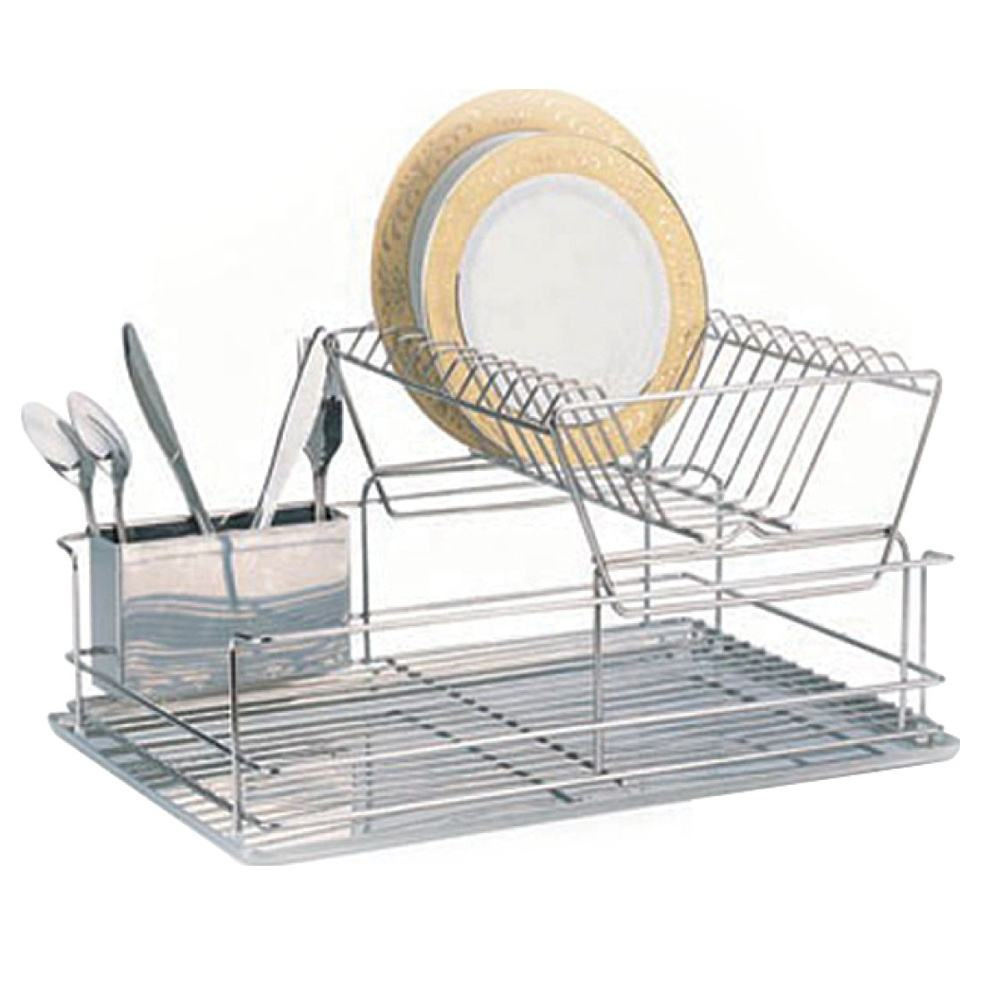 Kitchen 2 tier stainless steel dish rack table storage dish drying rack chrome wire dish rack with s.s tray (AWK107)
