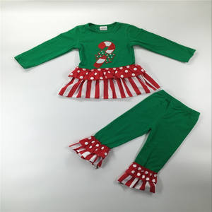 2018 christmas girl clothing set girls matching holiday clothing wholesale Christmas baby girl winter boutique Outfits