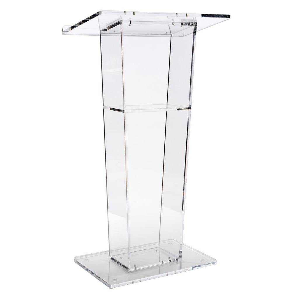 Easy Assembly Clear Acrylic Podium for Floor with Open Back and Shelf Glass Church Pulpit Podium