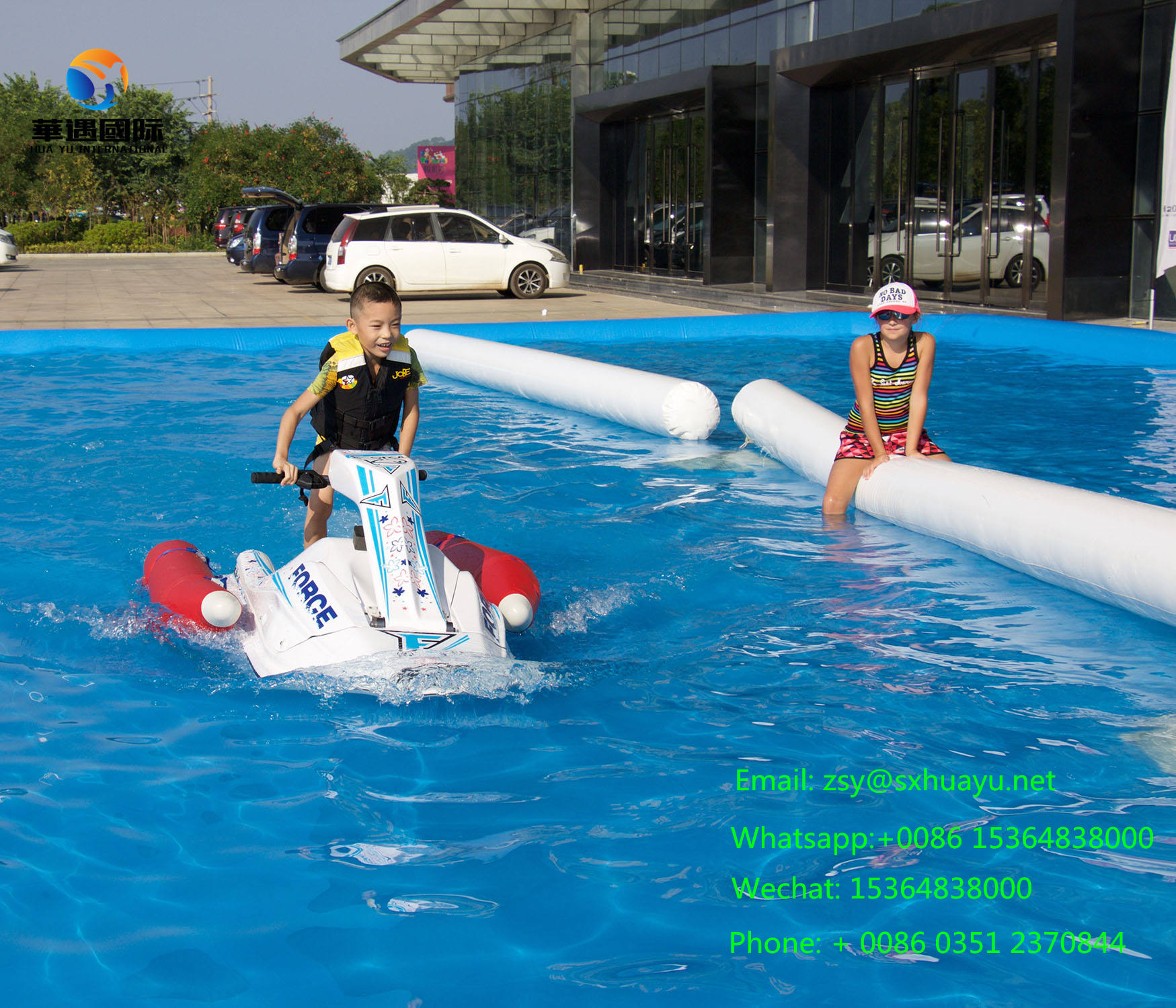 Electric boat, child standing, single, water jet