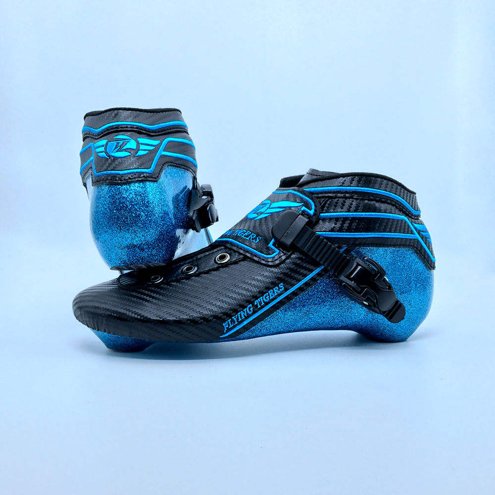Good Quality Professional Sky Blue Carbon Fiber Roller Inline Speed Skate Boot
